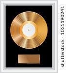 blank golden lp in white frame  | Shutterstock .eps vector #1025190241