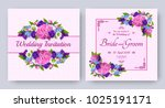 wedding invitation with flowers ... | Shutterstock .eps vector #1025191171