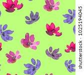 watercolor flowers. seamless... | Shutterstock . vector #1025194045
