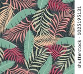 tropical background with palm... | Shutterstock .eps vector #1025195131