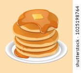 fresh tasty hot pancakes with... | Shutterstock .eps vector #1025198764