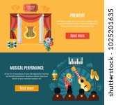 theatre banner set with... | Shutterstock .eps vector #1025201635
