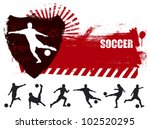 grunge soccer banner with many players