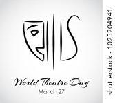 vector theatre emblem. world... | Shutterstock .eps vector #1025204941