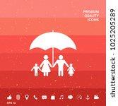family under umbrella   family... | Shutterstock .eps vector #1025205289