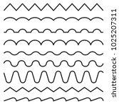 set of lines  wavy  zigzag ... | Shutterstock .eps vector #1025207311