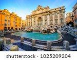 the trevi fountain  rome  italy ... | Shutterstock . vector #1025209204