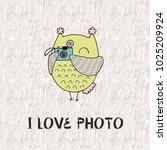 cartoon owl. i like photo. cute ... | Shutterstock .eps vector #1025209924