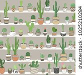 hand drawn different cactuses... | Shutterstock .eps vector #1025210284