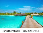 exotic bungalow on the...   Shutterstock . vector #1025213911