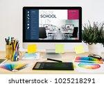 stationery desktop with design ... | Shutterstock . vector #1025218291