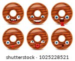 set of donut emoji isolated on... | Shutterstock .eps vector #1025228521