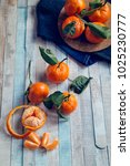 fresh mandarins fruits with... | Shutterstock . vector #1025230777