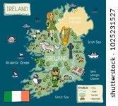 cartoon map of ireland   Shutterstock . vector #1025231527