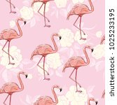 seamless flamingo pattern... | Shutterstock . vector #1025233195
