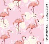 seamless flamingo pattern...   Shutterstock . vector #1025233195