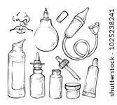 hand drawn sketch set medicines ... | Shutterstock .eps vector #1025238241