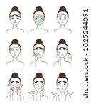 face skin care procedure all... | Shutterstock .eps vector #1025244091