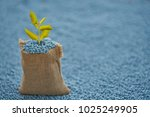 lleaves in gunny sack on blur... | Shutterstock . vector #1025249905