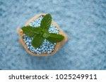mint leaves in gunny sack on... | Shutterstock . vector #1025249911