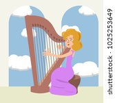 woman playing the harp at... | Shutterstock .eps vector #1025253649