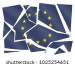 a broken eu flag isolated on a... | Shutterstock .eps vector #1025254651