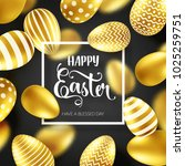 easter golden egg with... | Shutterstock .eps vector #1025259751