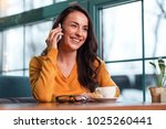 phone call. elegant cute... | Shutterstock . vector #1025260441