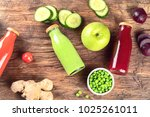 fresh organic fruits  vegetable ... | Shutterstock . vector #1025261011