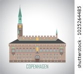 city hall square in copenhagen... | Shutterstock .eps vector #1025264485