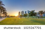 the high rise district of doha... | Shutterstock . vector #1025267701