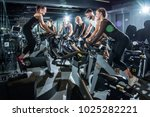 group of sporty people training ... | Shutterstock . vector #1025282221
