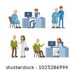 elderly people leisure in... | Shutterstock .eps vector #1025286994