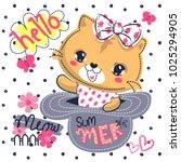 cute baby cat cartoon wearing...   Shutterstock .eps vector #1025294905
