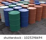 metal barrels in storage  3d... | Shutterstock . vector #1025298694