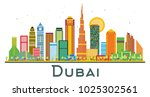 dubai uae city skyline with... | Shutterstock .eps vector #1025302561