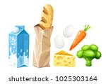 set of grocery food products... | Shutterstock .eps vector #1025303164