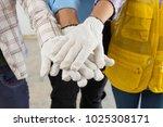 construction team handshake or... | Shutterstock . vector #1025308171