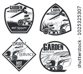 set of four lawn service badge... | Shutterstock .eps vector #1025325307