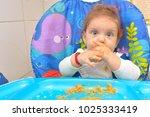 9 month children  eating pasta... | Shutterstock . vector #1025333419
