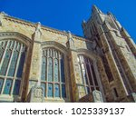 University Library, Michigan, Ann Arbor, USA. Beautiful stone building against blue sky.