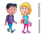 boy and girl ready for school | Shutterstock .eps vector #1025339431