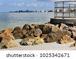 rocks and pier  madeira beach ... | Shutterstock . vector #1025342671