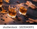 whiskey  brandy or liquor ...   Shutterstock . vector #1025343091