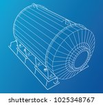 wire frame industrial equipment ... | Shutterstock .eps vector #1025348767