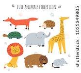 a set of cute little animals... | Shutterstock .eps vector #1025349805