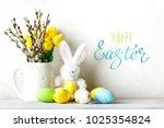 happy easter. congratulatory...   Shutterstock . vector #1025354824
