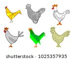 set of sketches of a rooster.... | Shutterstock .eps vector #1025357935