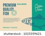 premium quality salmon.... | Shutterstock .eps vector #1025359621
