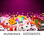 casino dice banner signboard on ... | Shutterstock .eps vector #1025363191